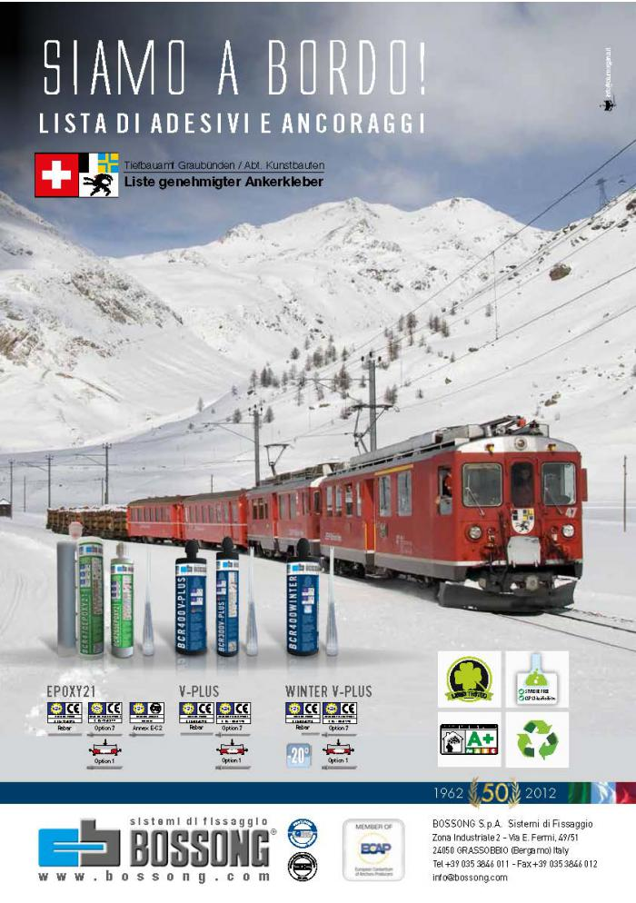 Bossong nella L I S TA Svizzera D I  A D E S I V I  E  A N C O R A G G I