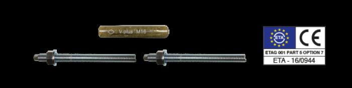 V Fiale chimiche Bossong e barre filettate con dado e rondella per fiale